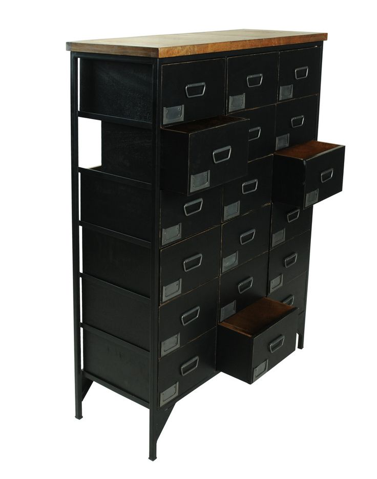 Black Apothecary Chalkboard Chest 18 Drawer – Onske
