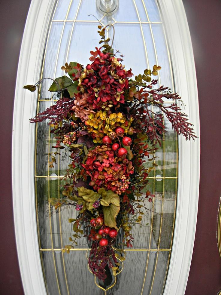 47 Inspiring And Inviting Fall Front Door Décor Ideas : 47 Inviting Fall  Front Door Décor With Wooden Glass Door And Fall Flower Door Ornament