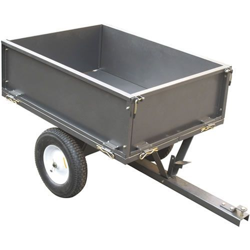 The Handy 225kg 500lb Towed Trailer Part Number THGT500 Easy to use dump trailer for use with your ride on mowers or garden tractor All steel