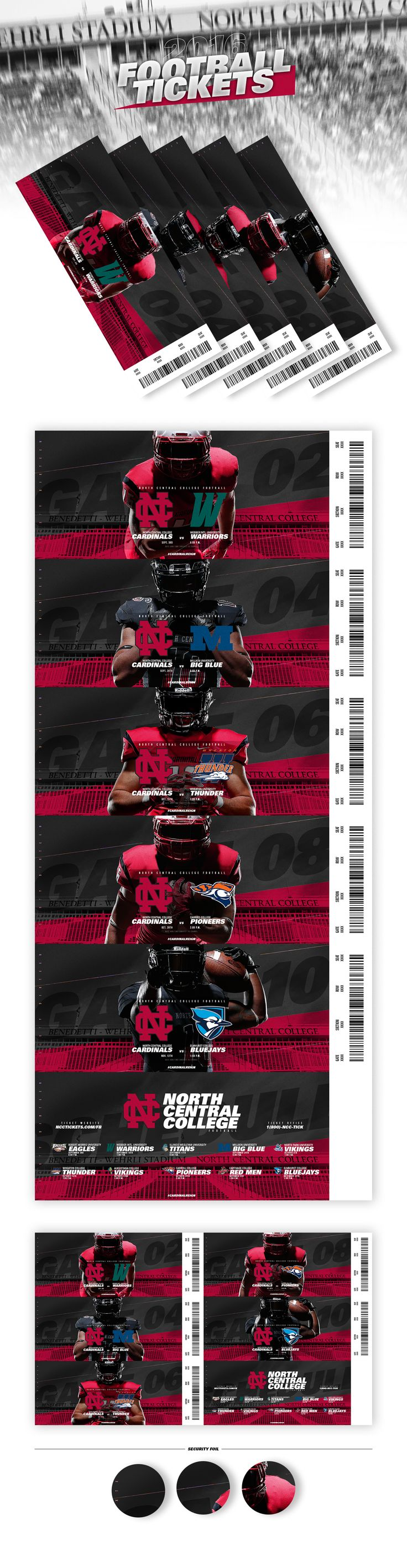 2016 North Central College Football Tickets on Behance