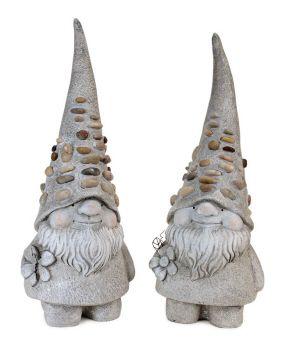 "Melrose International - Pebble Gnome (x2 Asst) 19""H Resin"