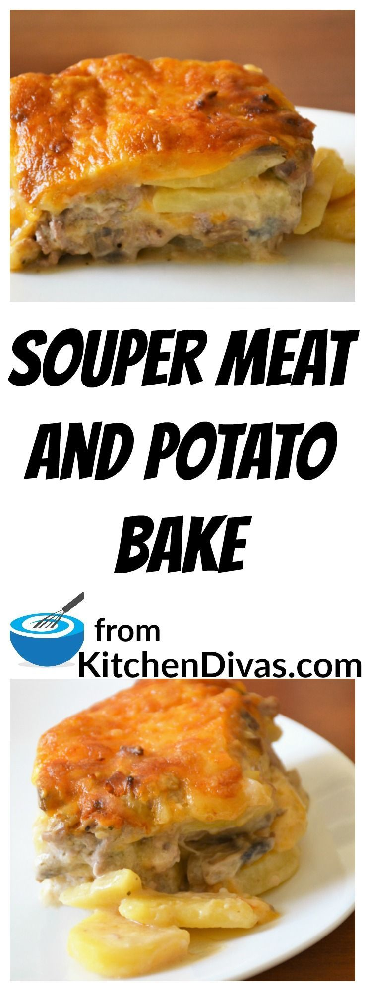 This Souper Meat and Potato Bake is one of my guilty pleasures.   It tastes so good no matter which meat I happen to use to make it.   I love the taste of the sauce with the potatoes.  This Souper Meat and Potato Bake tastes absolutely delicious.  #recipe #casserole #potato #food #foodidea