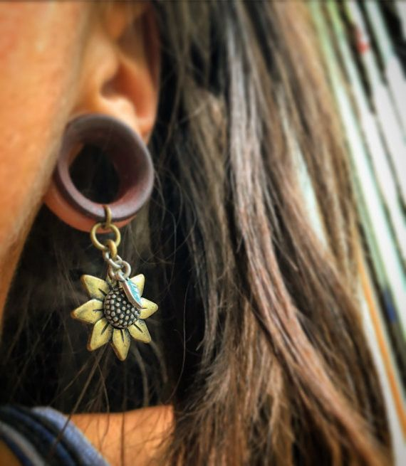 "Vintage Sunflower Dangles with Plug Gauges and Tunnels in Sizes 00g(10mm) through 1""(25mm)"