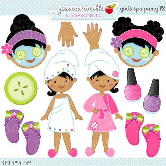 Girls Spa Party V2 Cute Digital Clipart, Commercial Use OK, Spa Party Graphics, Spa Party Clipart