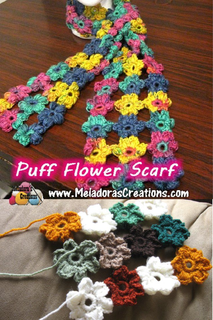 Crochet Flower Puff Pattern : Puff Flower Scarf ? Free Crochet Pattern & video tutorials ...