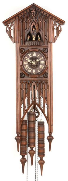 A stunning piece, this beautiful large clock is an impressive addition to any room. This clock is modeled after European cathedrals of the 12th-16th Centuries. It features the gothic arches and ornaments that typify the style. This is a large and striking piece and is a centerpiece of art and design. There are very few …
