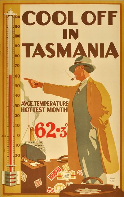 Cool off in Tasmania, Average temperature hottest month 62.3°c. This poster was commissioned by E.T. Emmett in 1929.