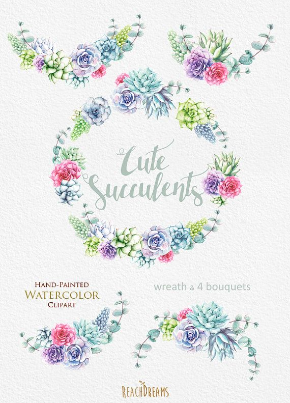 Watercolor Succulents Clipart. Wedding wreath от ReachDreams
