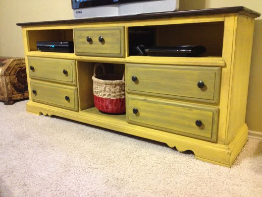 upcycled dresser, yellow pop of color