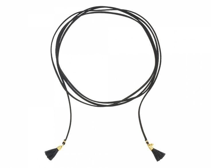 Czarny choker wiązany rzemień z chwostami / Black choker tied with tassels.  #choker #chokers #tassel #necklace #jewellery #jewelry #bizuteria #czarny #black