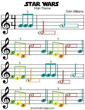 Star Wars (Main Theme) Free Sheet Music in C Major for Chromanotes, Boomwhackers, piano, and Deskbells! Teach your padawan with our preschool music lesson! #Piano
