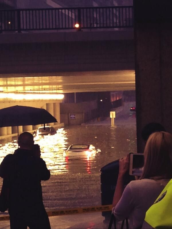 Cars submerged in floods, Toronto July 2013