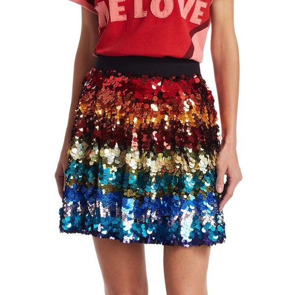 Alice + Olivia Alice + Oliva x Beatles Blaise Sequin Skirt ($550) ❤ liked on Polyvore featuring skirts, mini skirts, short long skirts, short skirts, zipper skirt, long sequin skirt and sequin mini skirt