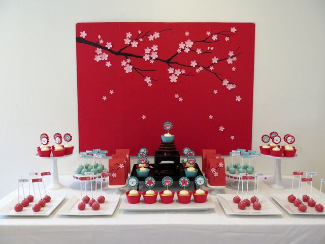 Gorgeous backdrop and dessert table at a Cherry Blossom party!  See more party ideas at CatchMyParty.com!