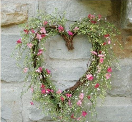 *•.¸¸❤¸¸.•*Blossom & Tea Leaf Heart Wreath*•.¸¸❤¸¸.•*
