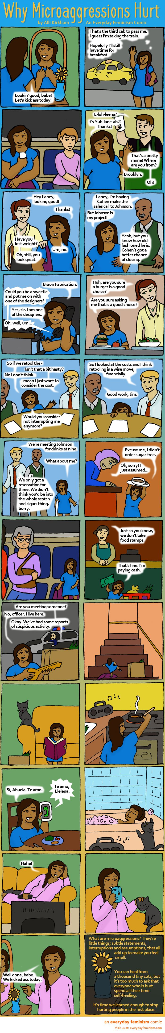 Microaggressions are small forms of discrimination – which may make you wonder if you or other people are just being too sensitive when microaggressions hurt. This comic puts that theory to rest.