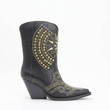 Jeffrey Campbell GLORIOUS Gold/Silver Stud Western Boot Black Calf Leather