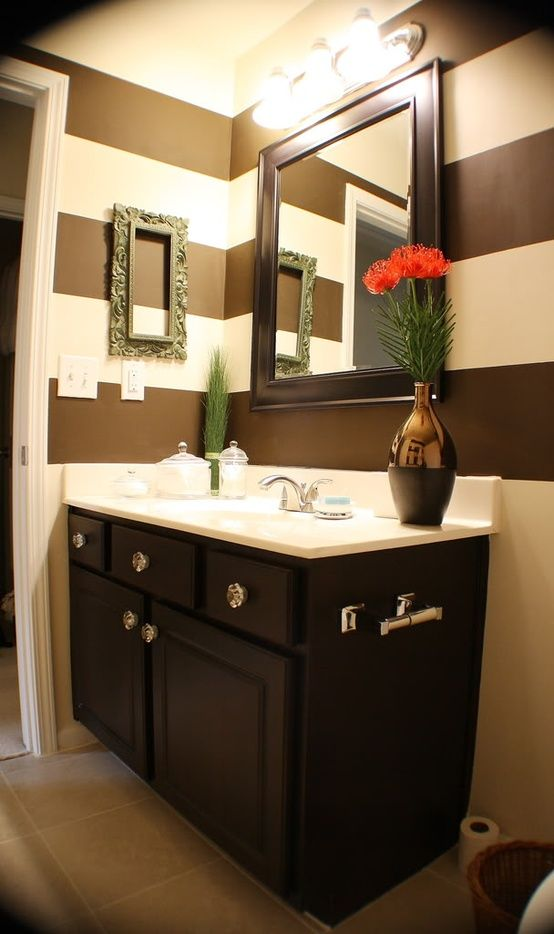 A possible redo of your bathroom, since you wanted something painted in black and white color scheme...