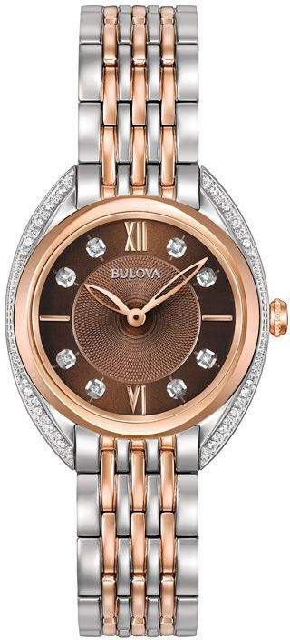 Zales Ladies' Bulova Diamond Accent Two-Tone Watch with Brown Dial (Model: 98R230) #Bulovaladieswatch