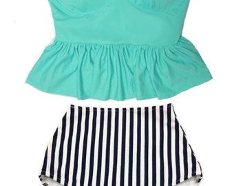 Green Tankini Long Peplum Underwire Top and Boho Graphic High