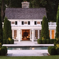 Love LovePoolhouse, Dreams Home, Exterior, Guest House, Pools House, Dreams House, Pool Houses, Landscapes Design, White House