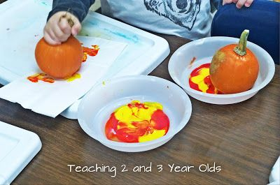 Teaching 2 and 3 Year Olds: Painting with Pumpkins