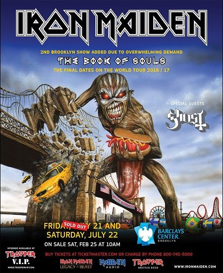 Iron Maiden anuncia show extra em Nova York, será o último show da turnê Book Of Souls – FUTEROCK