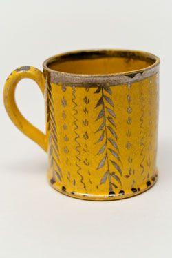 1820 Canaryware Child's Mug Vertical Leaf And Vine Decoration