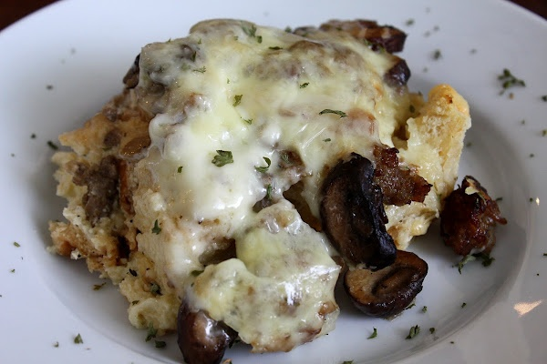 Asiago, Mushroom, and Sausage Strata   Adapted from Southern Living Christmas Cookbook
