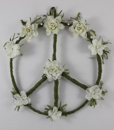 Hippie Peace Sign Wreath White Flower an original design by PeacePetalsAndPearls,