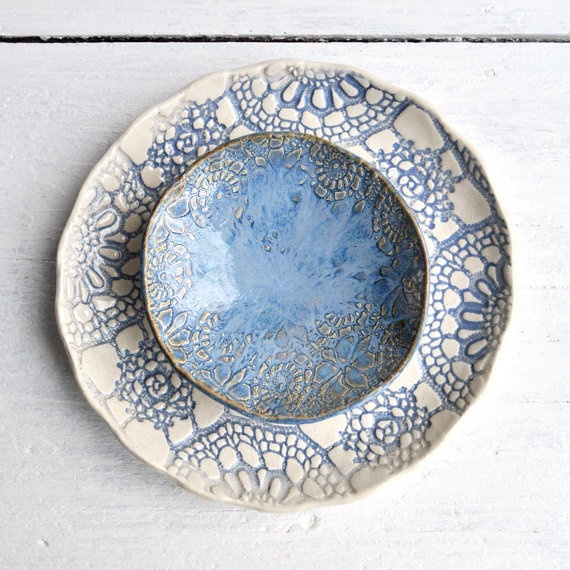 Blue Lace Urban Rustic ceramic nesting bowls