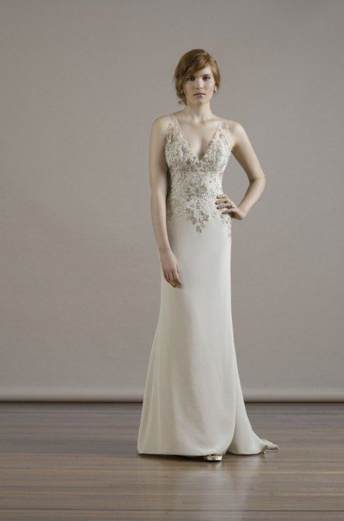 This elegant sheath silhouette with beading is simply stunning! Fall 2015 Liancarlo Wedding Dresses