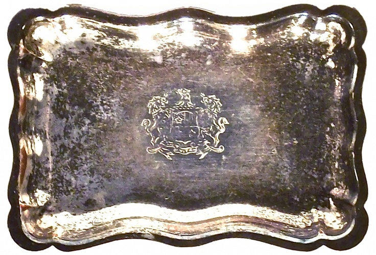Antique Silverplate Engraved Tray
