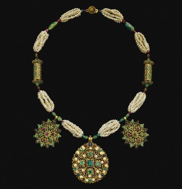 A gem-set and seed pearl gold necklace (tazra), Morocco, 18th Century
