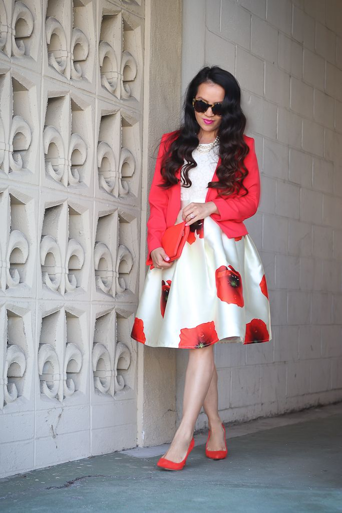 Dreaming of Hana A-line Skirt, H&M collarless red blazer, J.Crew red pumps, Ann Taylor foldover clutch, Banana Republic madmen lace shell
