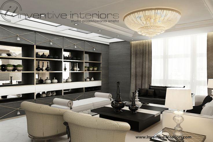 Projekt apartamentu 60m2 Inventive Interiors - projekt regału w salonie