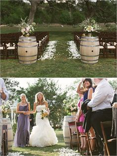 chic rustic outdoor wedding ceremony ideas with wine barrel decorations