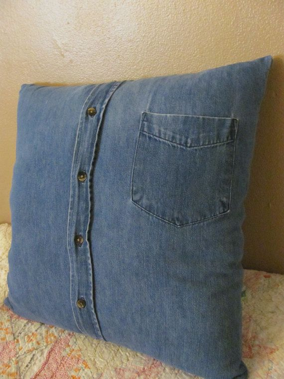 Recycled Denim 18 inch square Pillow  Cushion by TJPhillips991