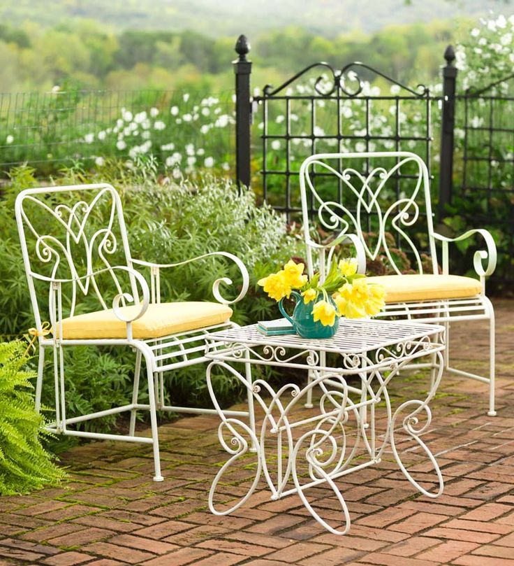 White Metal Butterfly Chat Set Adds Style And Function To Your Patio,  Porch, Sunroom Or Yard. Delightful Butterfly Motif On Chair Backs And Table  Sides.