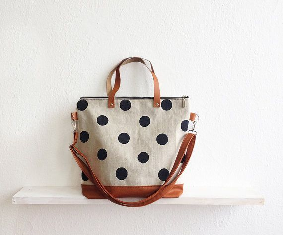 Large Polka dot Tote bag, Crossbody bag, Shoulder bag, Black and white, Canvas Tote, Dotted bag, Casual bag, Large tote, Everyday bag