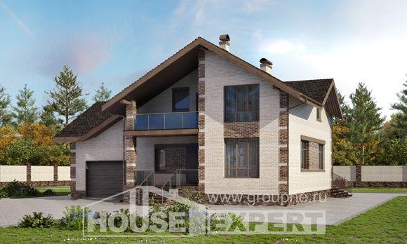 245-005-П Проект двухэтажного дома с мансардным этажом, гараж, классический коттедж из бризолита