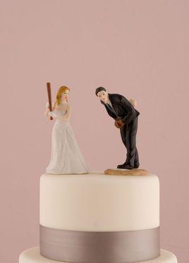 Bride and Groom Baseball Wedding Cake Topper