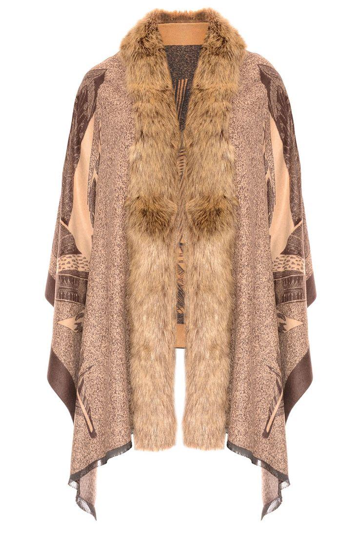 Shop Jayley Mocha Feather Print Cashmere Wrap | Fur Collar Wrap
