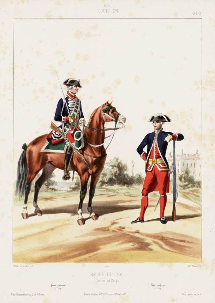1786 louis xvi maison du roi gardes du corps grand uniforme 2e comp petit uniforme 4e. Black Bedroom Furniture Sets. Home Design Ideas