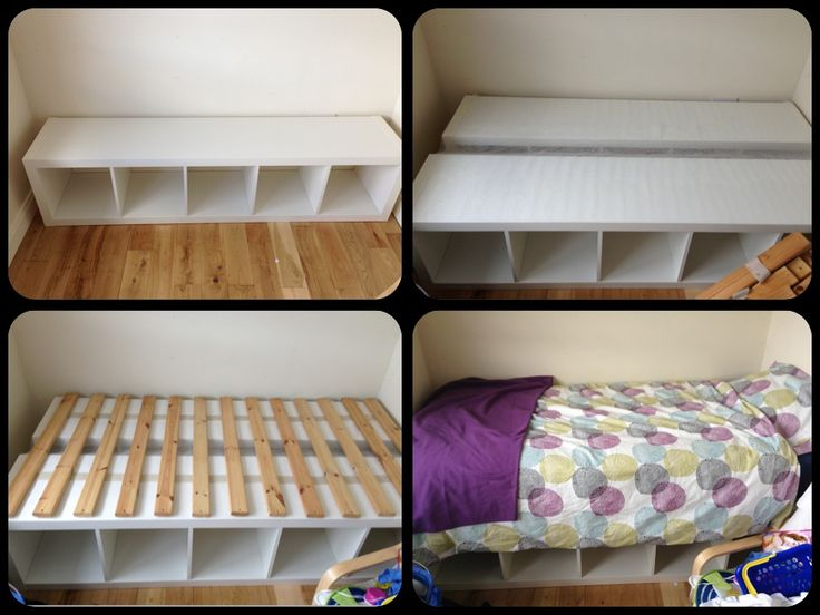 My first ikea hack – to get a bed to fit in a small room and create more floor space for playing