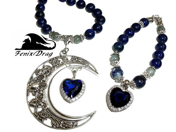 Necklace women's choker and bracelet set Moon