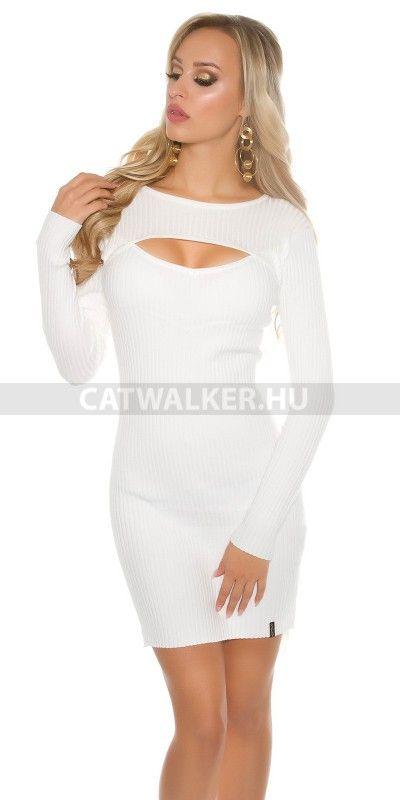 Kötött ruha szexi dekoltázzsal - fehér Anyaga: 50% Viscose / 25% Polyamide / 25% Modal  Egyméret (onesize), ami xs-m méretig jó!  Származási hely: EU.