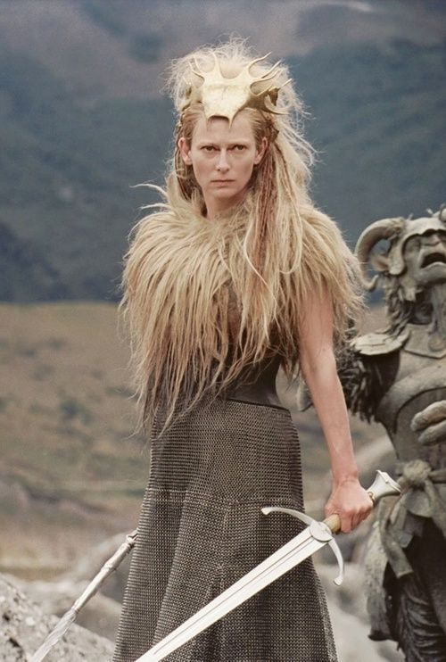 Jadis, the White Witch, Queen of Narnia ~ the fur shoulders and chainmail skirt... excellent!