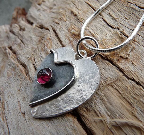 Sterling Silver Heart Necklace with Garnet