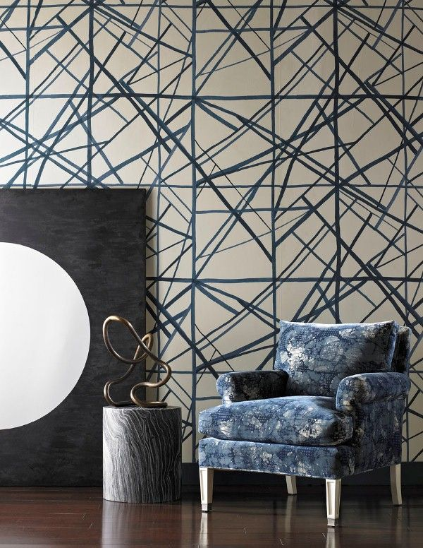 KELLY WEARSTLER | CHANNELS WALLPAPER IN PERIWINKLE OATMEAL. Intentionally casual edging that captures abstract brush strokes.